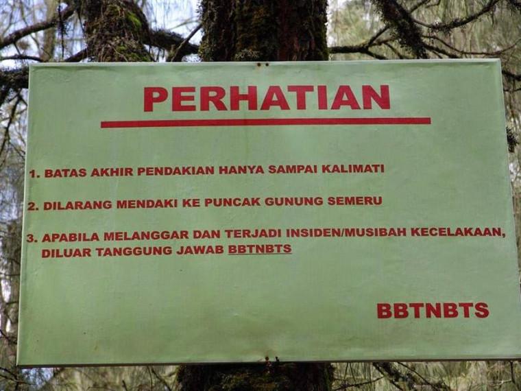 peringatan gunung